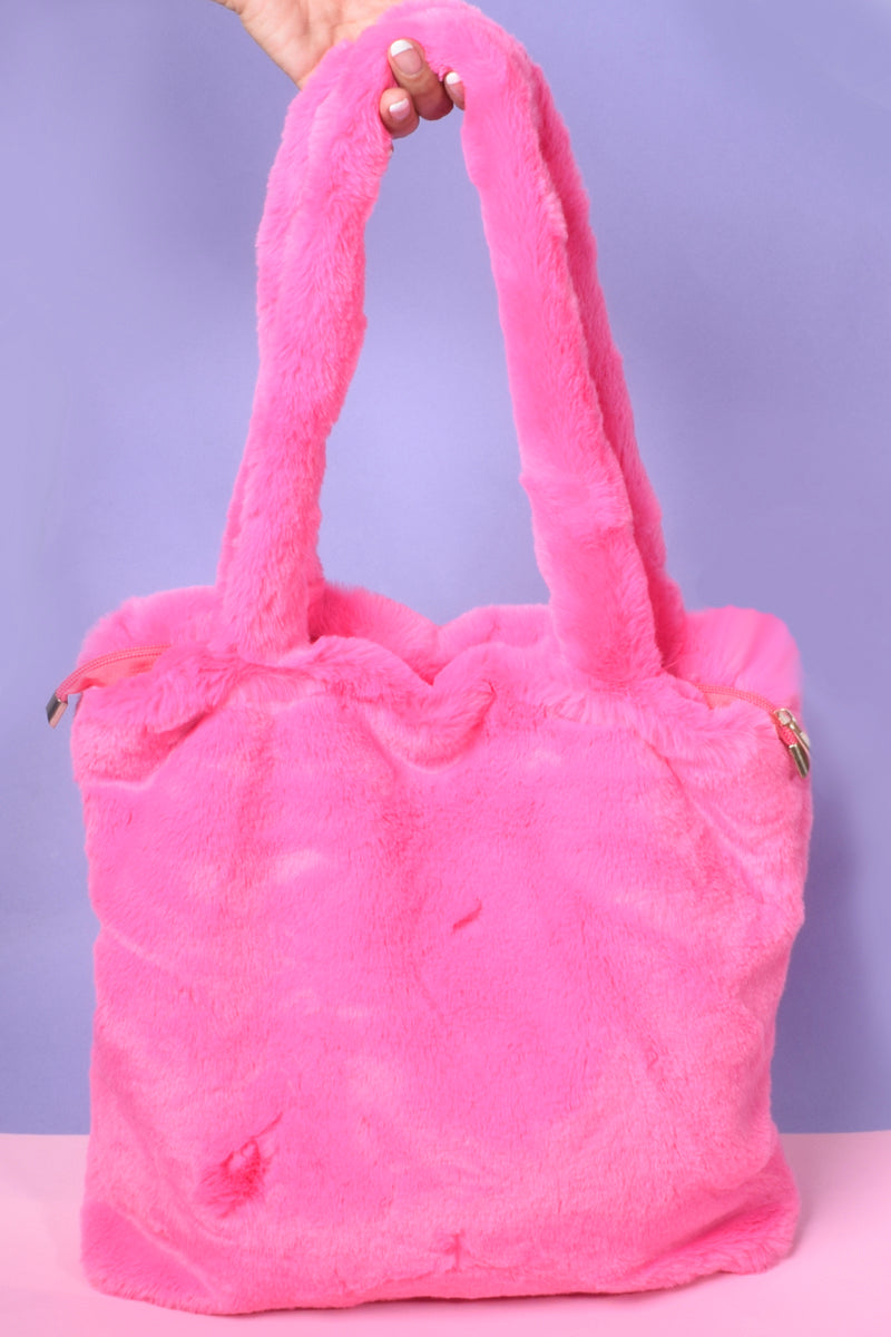 Take A Picture Furry Shoulder Bag - Hot Pink
