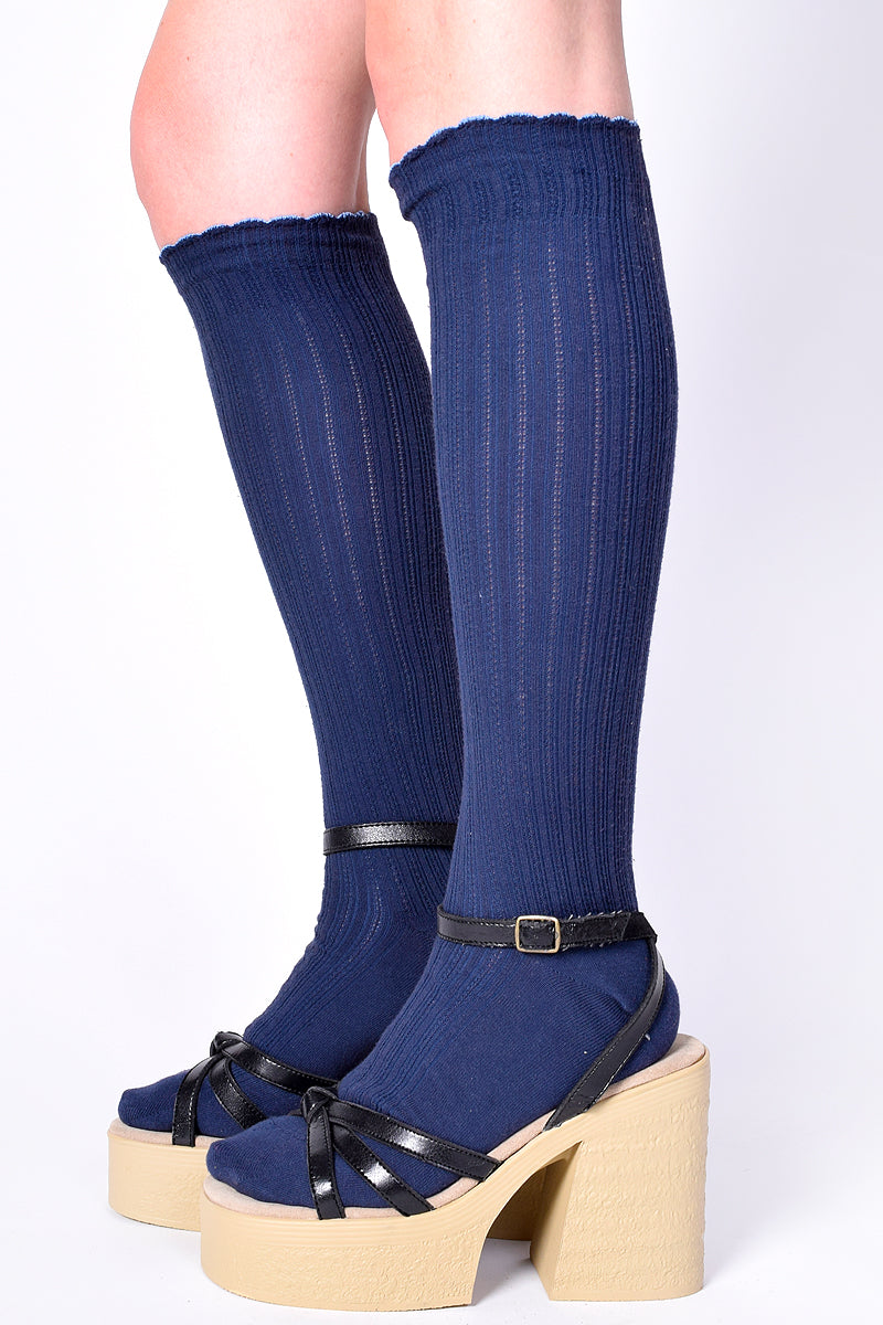 Take A Message Knee High Socks - Navy