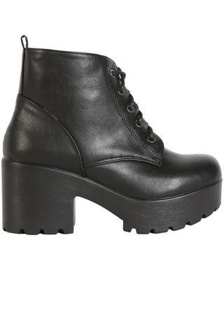 Platform Tie Up Bootie - Black