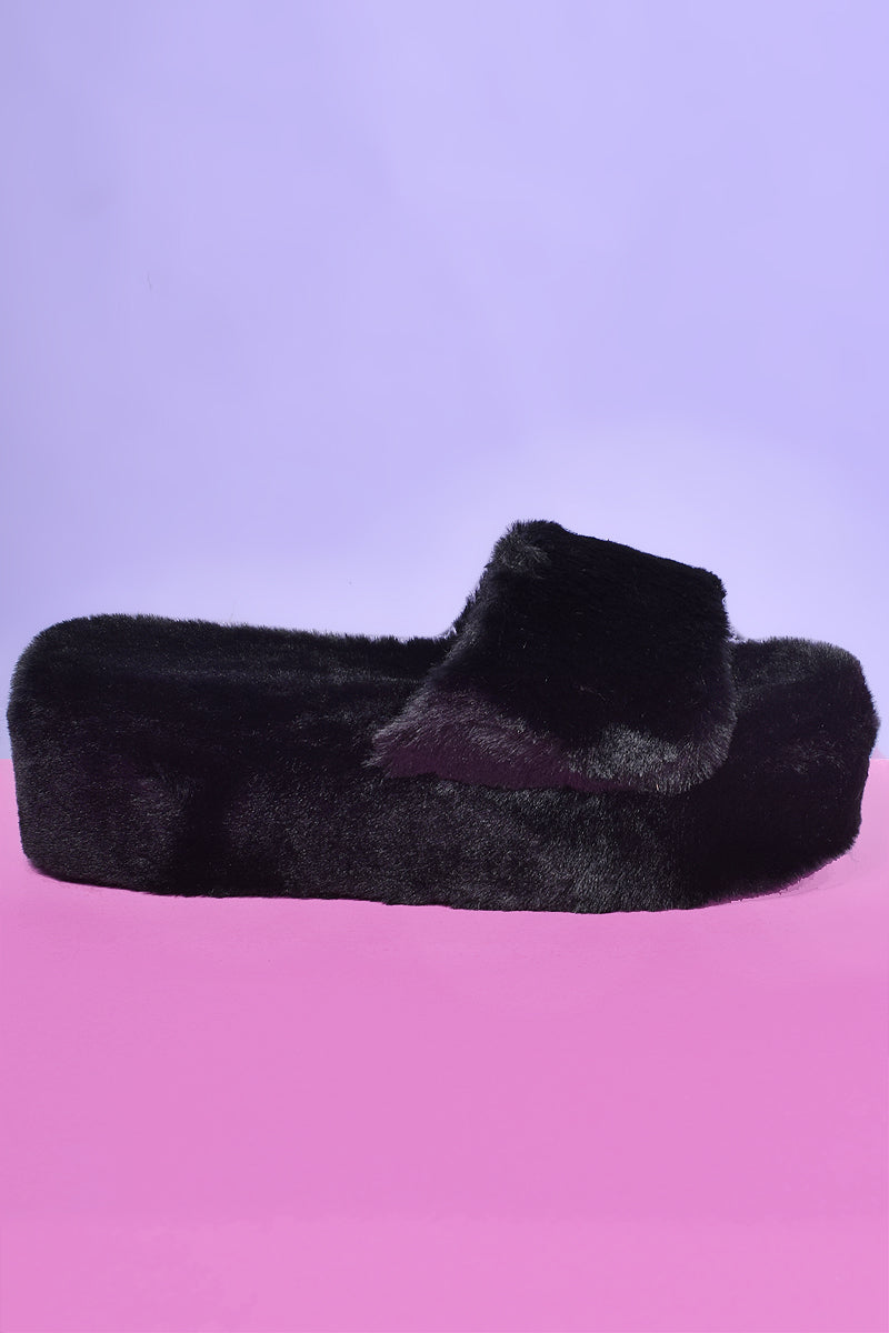 Panther Love Faux Fur Platforms