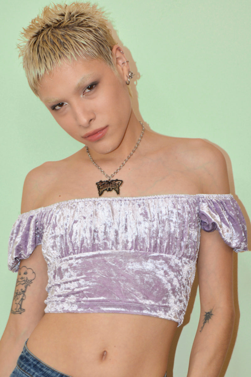Reboot Crushed Velvet Bustier Top - Lilac