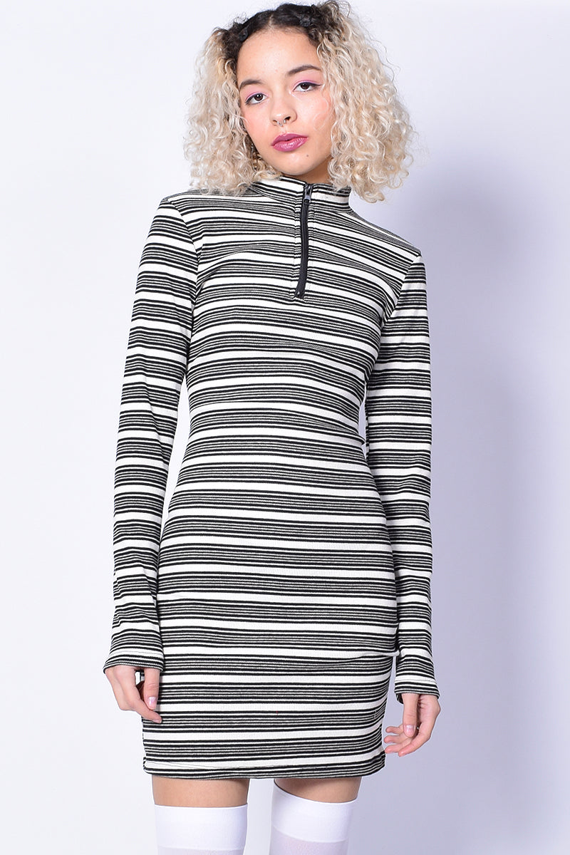 Lottie Stripe Dress - Black & White