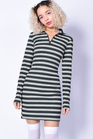 Lottie Stripe Dress - Dark Green & White
