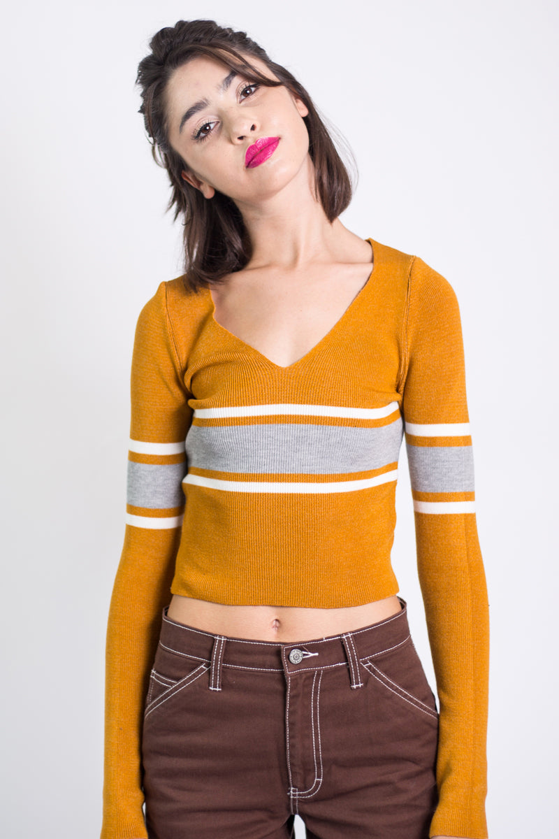 Presley Fitted Vneck Stripe Sweater - Mustard