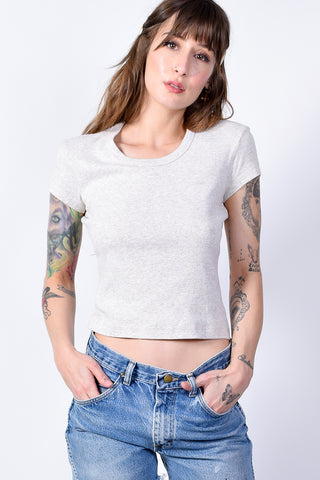 ECH Vintage Oatmeal Scoop Neck Top