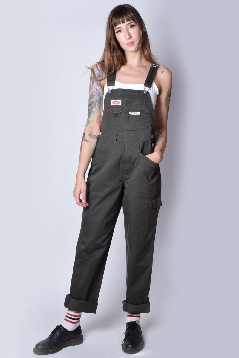 Super Over It Deadstock Baggy Cargo Overalls - Army Green