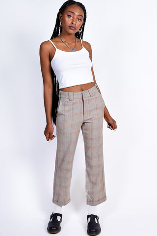 Plaid Rolled Hem Work Pant by Dickies Girl