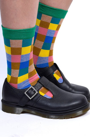 Plaid Patchwork Crew Socks