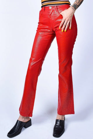 Deadstock Jasmine Red Hot Reptile Print Flare Pants