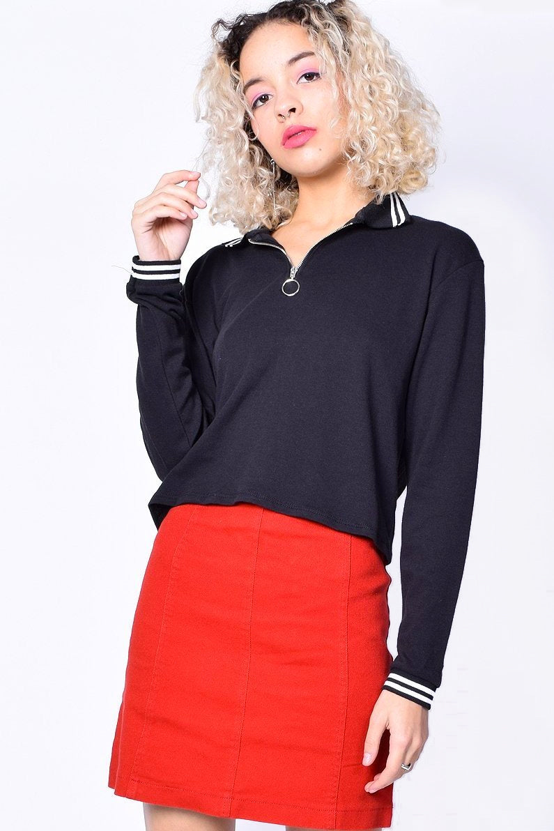 Runaway Zip Top Polo - Black