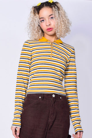 Striped Fiona Zip Top - Mustard