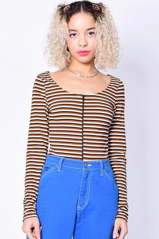 Zip It Up Brown Stripe Top