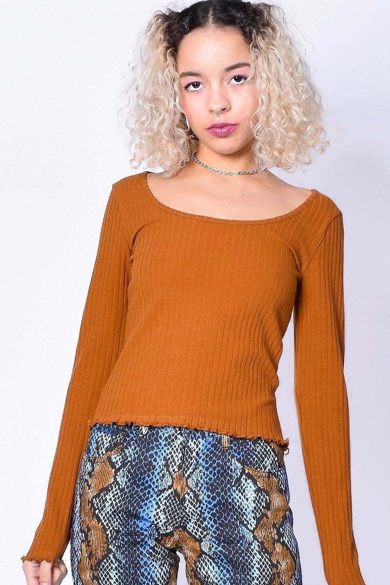 Frankie Ribbed Long Sleeve - Cinnamon