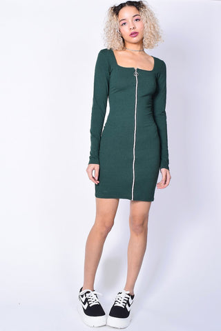 Front Zip Vivian Dress - Evergreen