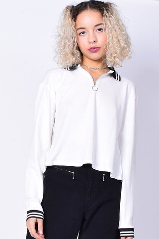 Runaway Zip Top Polo - White