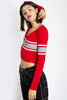 Presley Fitted Vneck Stripe Sweater - Red