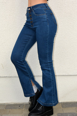 Reese Button Front Flare Jeans