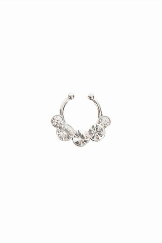Jewel Faux Septum Ring - Silver