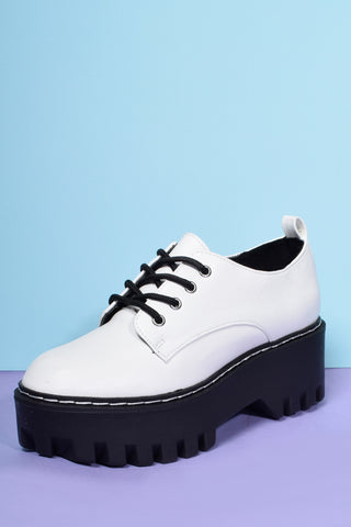 Secret Life Platform Chunky Oxfords - White
