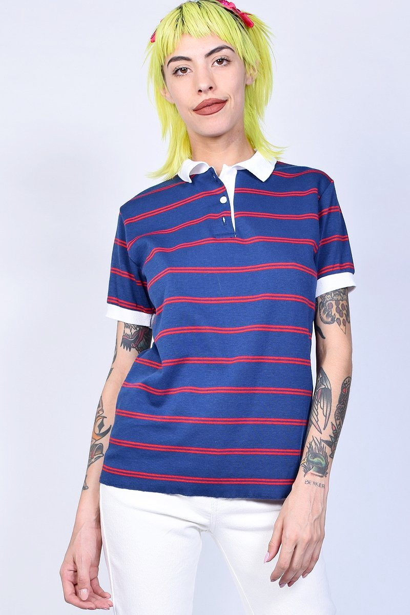 ECH Vintage Preppy Striped Polo