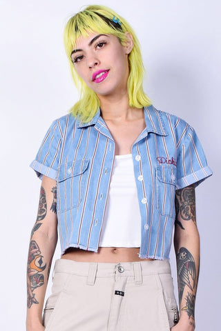 Striped Cropped Work Shirt by Dickies Girl