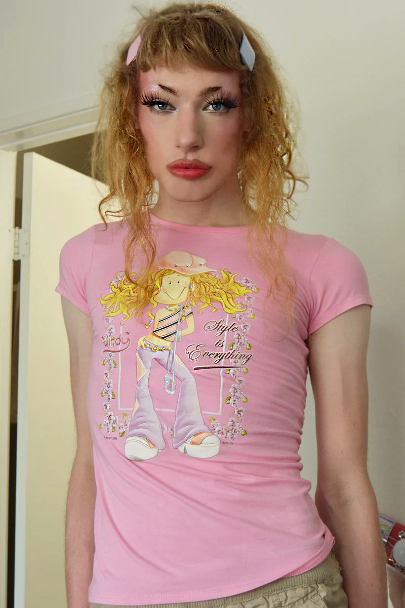 Style is Everything Grrl Y2K Baby Tee - Pink