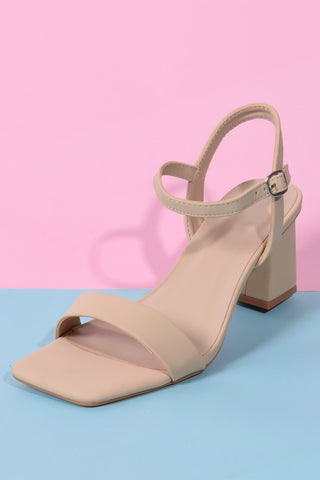 Forever Yours Square Toe Ankle Strap Block Heel - Tan