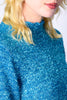 Deloris Tinsel Knit Cropped Sweater - Aqua