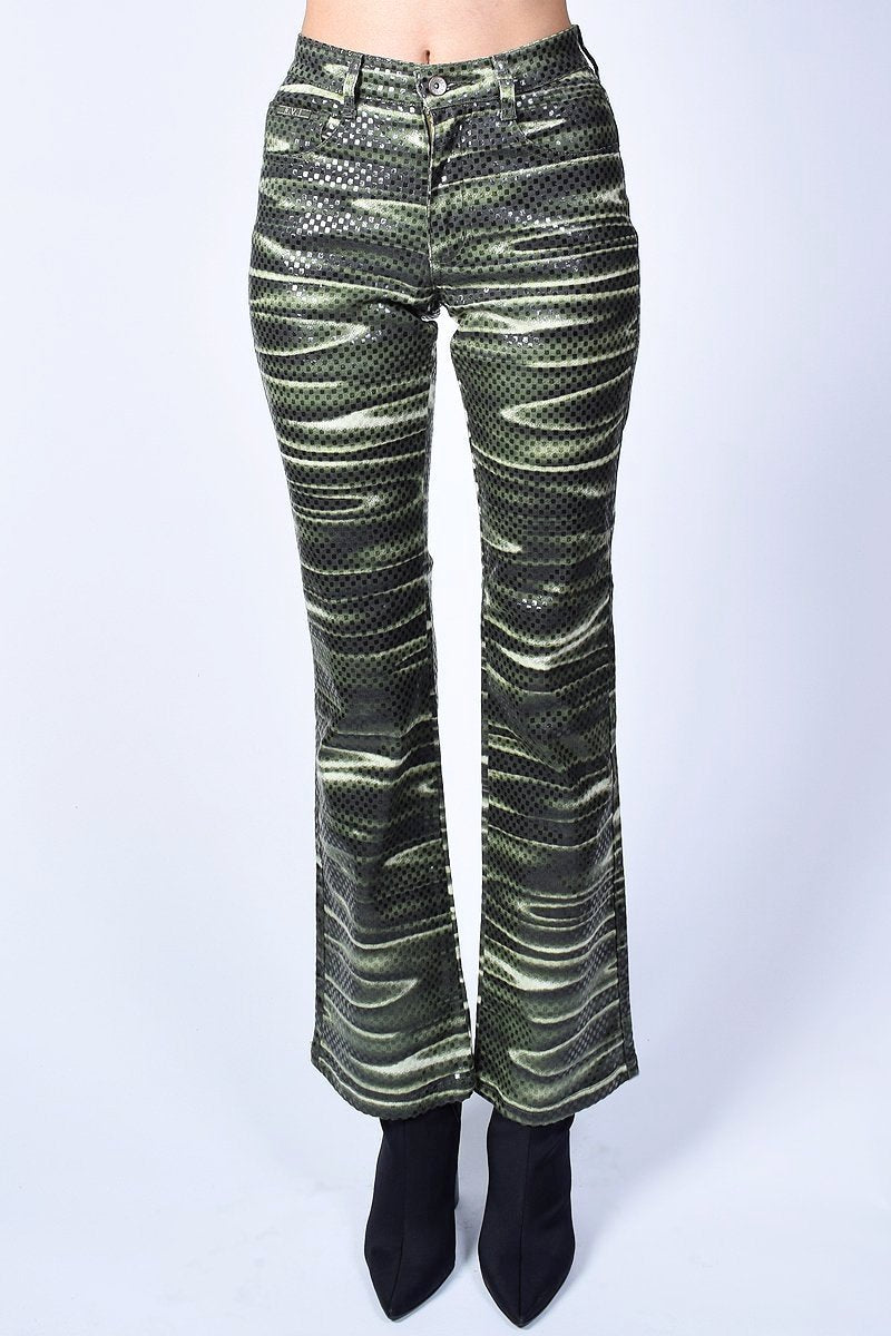 Deadstock Jennifer Trippy Print Flare Pants