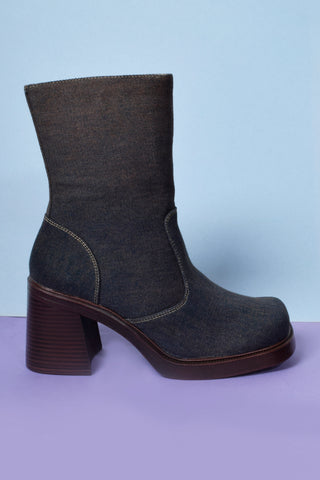Clarissa Deadstock Square Toe Denim Boot