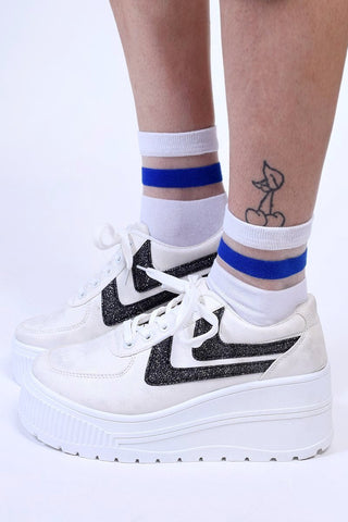 Floating Stripe Mesh Sock - White
