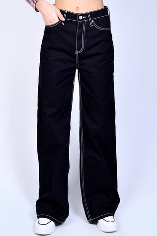 Black 5 Pocket Wide Leg Work Pants by Dickies Girl