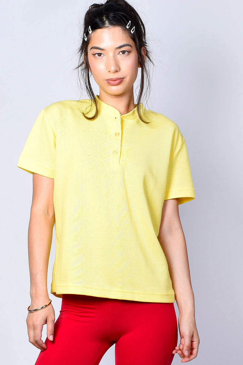 ECH Vintage Oversized Ribbed Yellow Henley