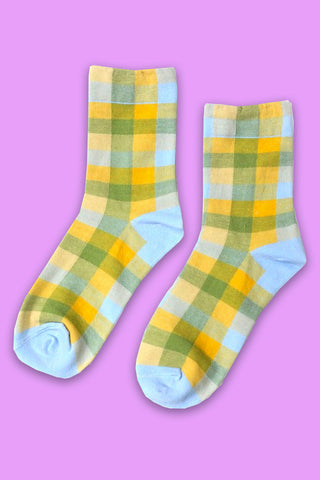 Glad in Plaid Crew Socks - Blue