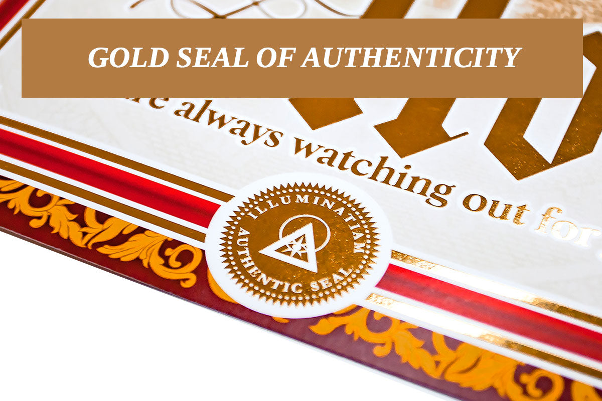 Bears the gold seal of authenticity and the Illuminatiam insignia.