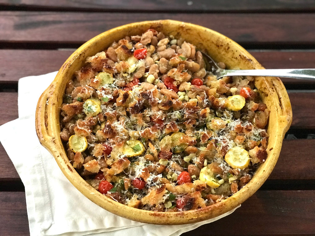 Baked Cassoulet Beans with Summer Squash & Corn