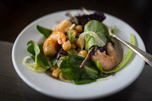 Arugula, Fennel, Garbanzo and Shrimp Salad