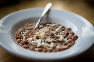 Buckeye Beans with Pickled Shallots and Goat Cheese
