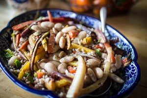 Roasted Carrot, Heirloom Bean and Farro Salad