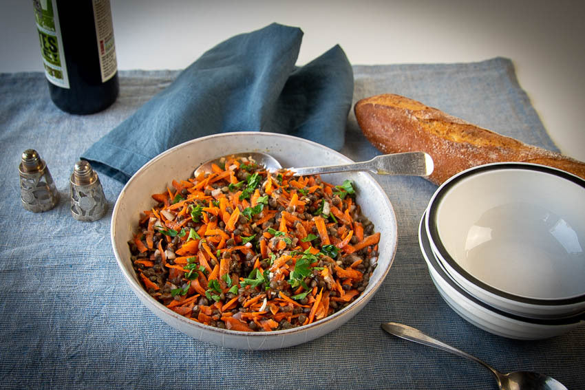 Shredded carrots with Rancho Gordo lentils and herbs