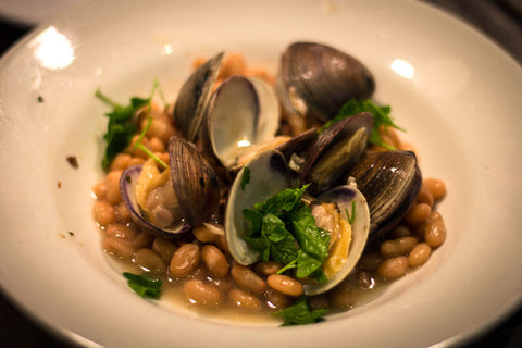 Rancho Gordo Cooking Main Dish Recipe for Alubia Blancas with Clams and Pancetta using heirloom Alubia Blanca Beans