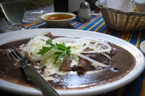 Rancho Gordo Recipe for Enfrijoladas with heirloom bean puree