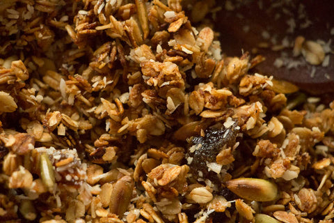 Rancho Gordo Cooking Recipe for New World Granola with Quinoa, amaranth, vanilla piloncillo and xoconostle