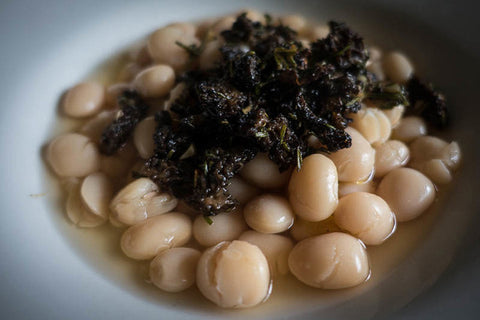 Alubia Blanca Beans with Morel Mushrooms and Rosemary