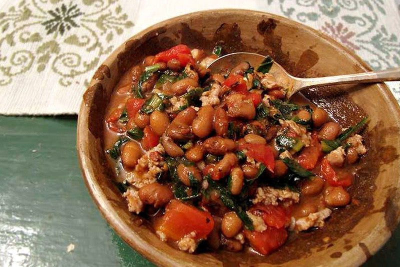 Rancho Gordo Beans with Dandelion Greens, Roasted Tomatoes and Italian Sausage