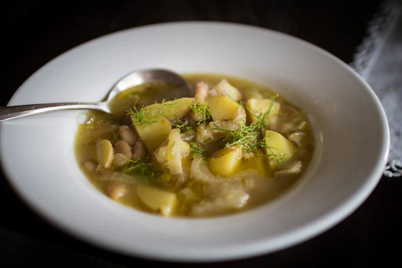 Fennel, Potato and White Bean Soup with Rancho Gordo heirloom beans