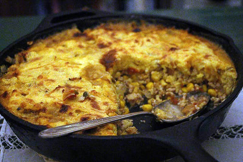 Rancho Gordo Cooking Main Dishes Recipe for California Tamale Pie made with Rancho Gordo dried heirloom Cassoulet Beans or Royal Corona Beans and Oregano Indio