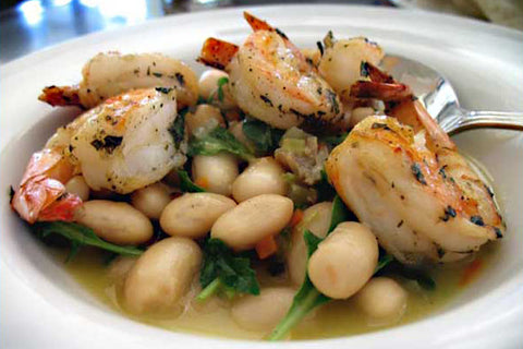 Recipe for Grilled Shrimp with Rancho Gordo Dried Hierloom Royal Corona Beans, Sasage and Arugula