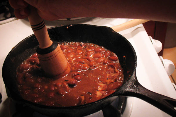 Refried Pinto beans on a skillet - Rancho Gordo, Heirloom beans