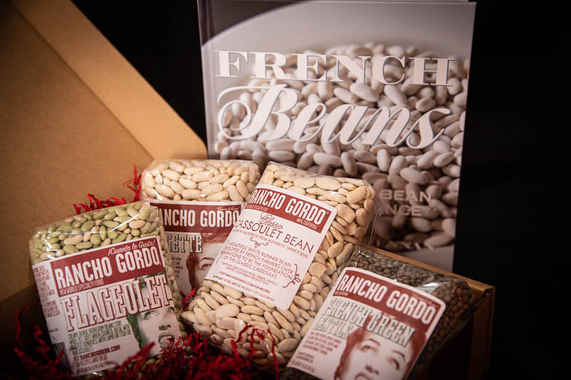 French Beans Gift Set - one pound of Flageolet, Mogette, Cassoulet beans, and French Green Lentils with French Beans: Exploring the Bean Cuisine of France book, Rancho Gordo - Heirloom beans